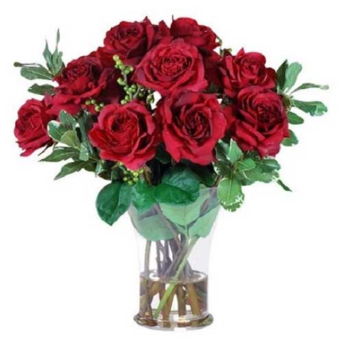 Captivating Madly In Love Red Roses Arrangement