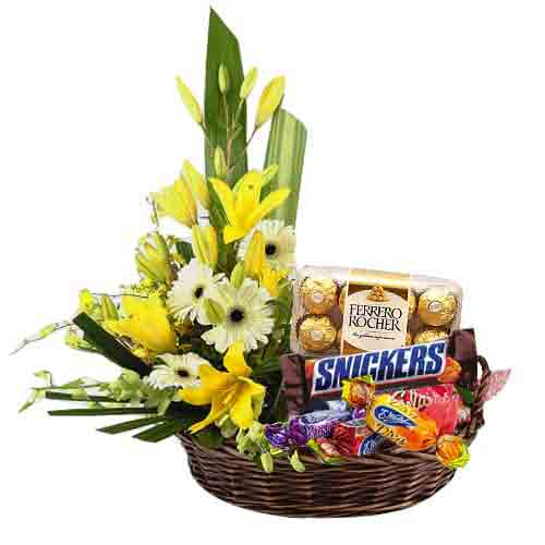 Distinctive Chocolate and Flower in a Lovely Hamper