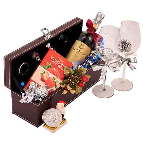 Joyful Sincerest Thanks Wine n Chocolate Gift Hamper<br>
