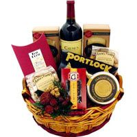 Lip-Smacking Cake, Cookies, Wine Basket
