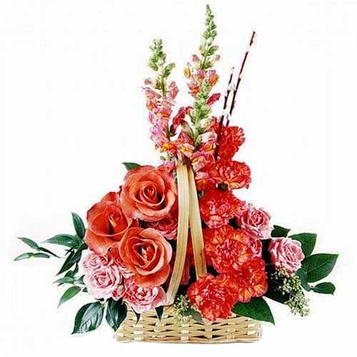 Assorted Flowers in an Attractive Basket