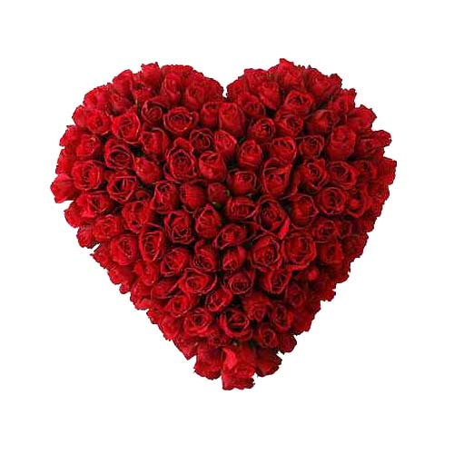 Artistic Valentines Special Hundred Red Roses in Heart Shape Arrangement