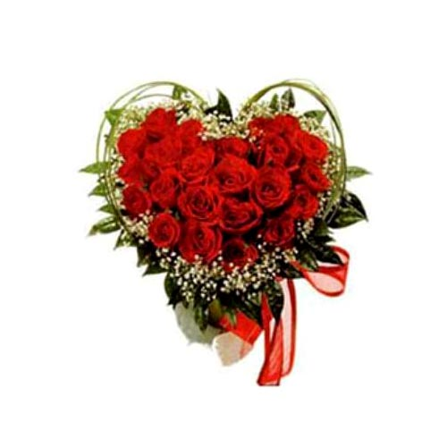 Gorgeous Valentines Special 18 Heart Shaped Roses Arrangement