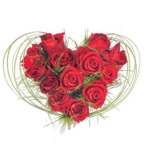 Magical Heart Shaped Bouquet of 12 Roses on Valentines Day for Your Loved Ones