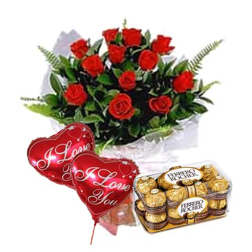 Exquisite Gift of 12 Red Roses with Ferrero Rocher Chocolates and 2 Balloons on Valentine