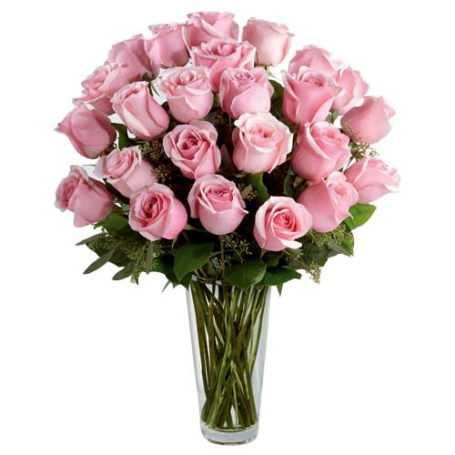 Classic Valentines Day Special 24 Pink Roses Arrangement in a Vase for Close Ones