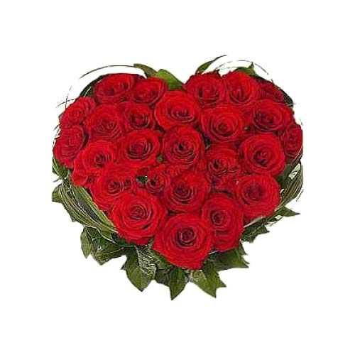 Radiant Heart Shaped Bouquet of Twenty Four Roses on Valentines Day
