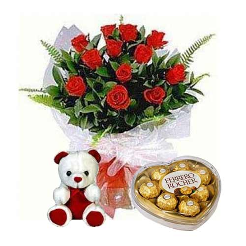 Rich Roses Teddy and Ferrero Rocher for Someone on Valentines Day