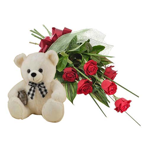 Dazzling Arrangement of 6 Red Roses with Plump Teddy for Your Loved Ones on Valentines Day
