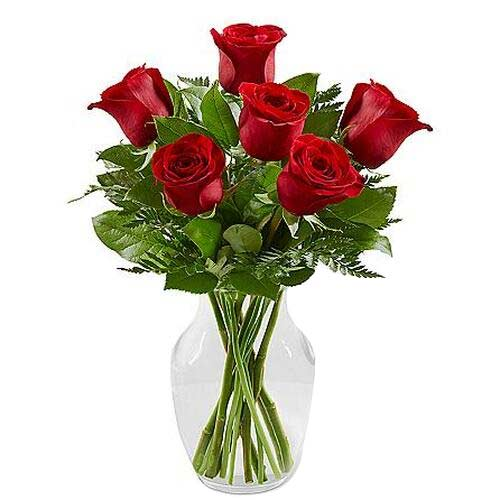 Cheerful 6 Red Roses Arrangement in a Vase on Valentines Day
