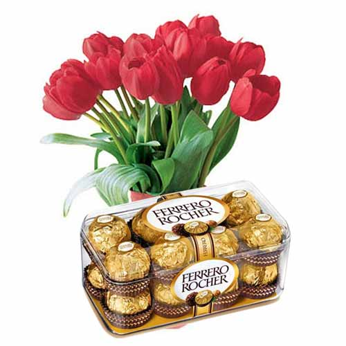 Divine Valentines Day Special Twelve Red Tulips with Ferrero Rocher Chocolate Set for Close Ones