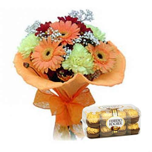 Flowers and Ferrero Rocher Chocolates