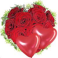 Fresh 1 Dozen Roses in Heart Shaped Arrangement with Balloon on the Occasion of Valentines Day
