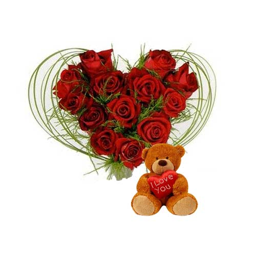 Impressive Heart Shaped Bouquet of 12 Roses with Plump Teddy on Valentines Day