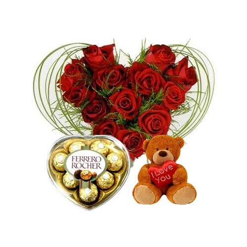 Stunning Gift Pack of Roses with Teddy and Ferrero Rocher on Valentines Day