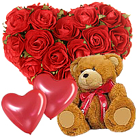 Vibrant Valentine Gift of Roses with Balloons and Teddy