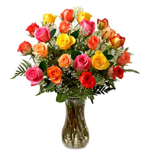 Mesmerizing 24 Mixed Roses Arrangement in Vase on Valentines Day
