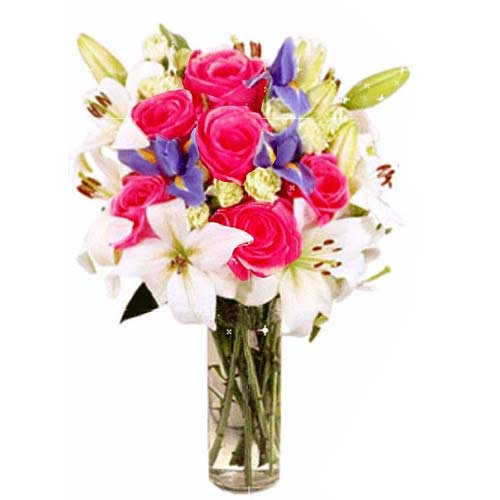 Premium Collection of 6 Roses and Lilies on Valentine Day