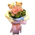 Beautiful Original Selection Pink Roses with Teddy on Valentines Day