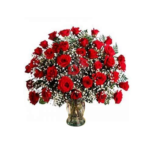 Extravagant Bunch of 36 Red Roses in a Vase on the Occasion of Valentines Day