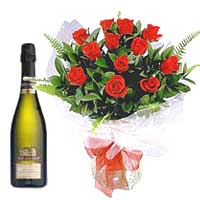 Dazzling Roses Bouquet with Wine